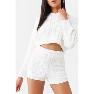 Forever 21 Cable Knit Crop Top & Short Lounge set
